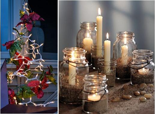 decoracao em arvore de natal:de arame, luzes e flores artificiais criam uma árvore de natal
