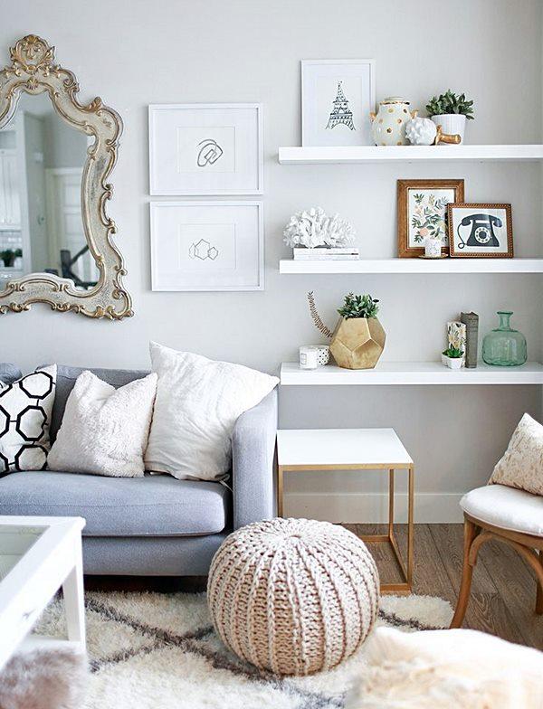 homedit floating-white-shelves-for-living-room