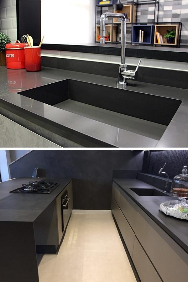 Porcelanato na bancada cozinha Eliane e Porto Design