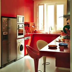 Cozinha em U, boa para ambientes quadrados ou retângulares