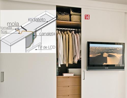 Ideias Guarda Roupa Quarto Pequeno ~ mostrando como fazer a instala??o de um TV na porta do guarda roupas