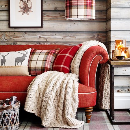 Red-Tartan-and-Chunky-Knit-Throw-Living-Room-Country-Homes-and-Interiors-Housetohome