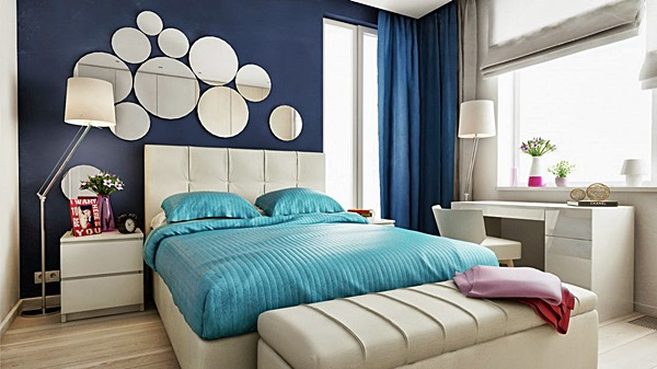 Quartos De Casal Decorados Em Azul ~ Azul e branco fazem um contraste forte Este tom da parede ? mais