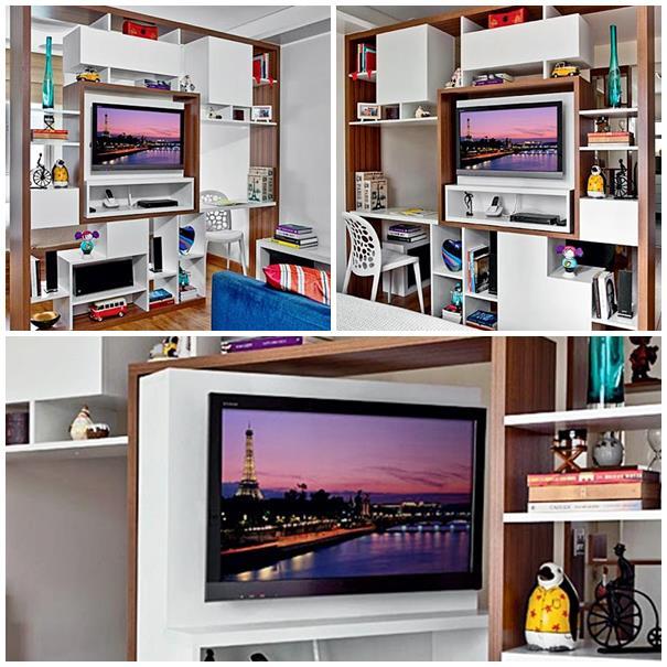 Sala Com Tv Giratoria ~ Uma TV para dois ambientes AcheiMinhaCasacom  Salas Com Tv Giratoria