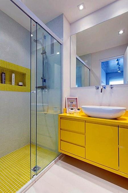 E quem não tem um lavabo ou banheiro pequeno?  Simples Decoração -> Banheiro Planejada Apartamento Pequeno