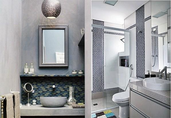 20 banheiros usando pastilhas  Simples Decoracao  Simples Decoração -> Banheiro Com Faixa De Pastilha Atras Do Vaso