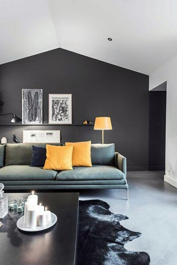 Sala com parede escura