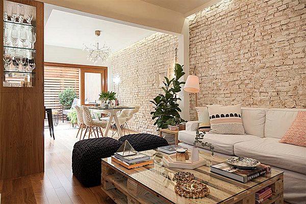 sala de estar e jantar pequena tijolo demolição