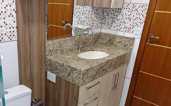 banheiro pequeno - cuba-embutir