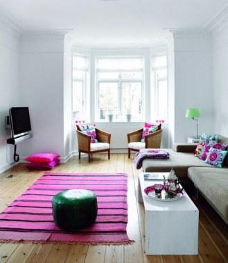 sala tapete rosa