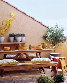 jardim banco mesa