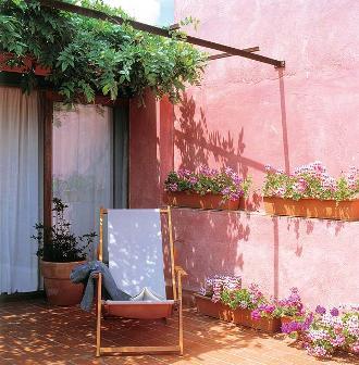 jardim parede rosa