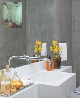 lavabo cimento amarelo simples decoracao