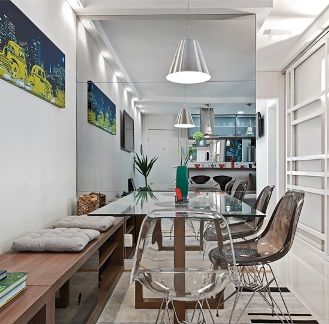 sala jantar apartamento pequeno Simples Decoracao