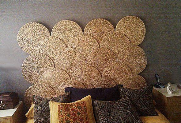 cabeceira de sousplats de palha arquitrecos via decorador net
