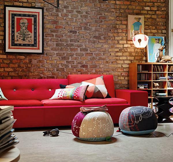 sala vermelho tijolinho
