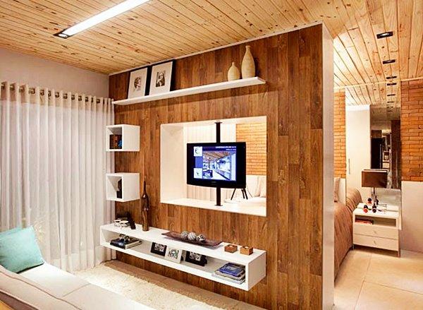 Uma TV para dois ambientes sala e quarto