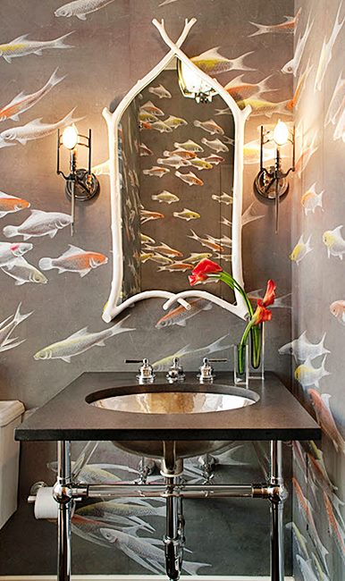 simplifiedbee  koi-fish-wallpaper-de-gournay-bathroom