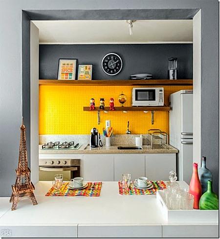 cozinha americana amarelo e cinza