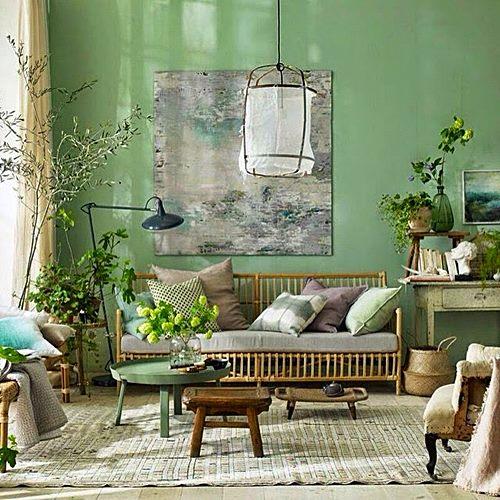 sala de estar parede verde