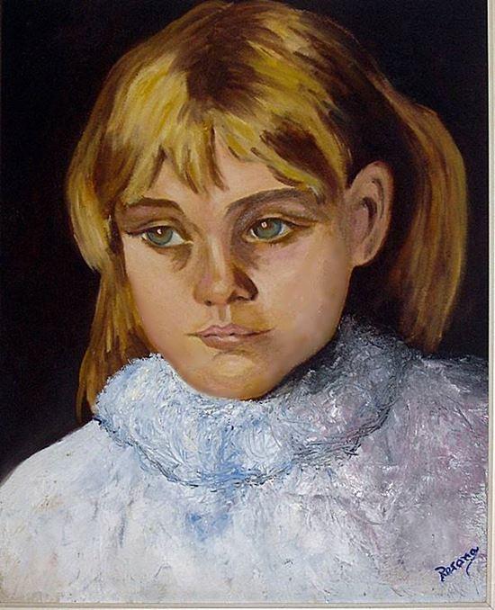 quadro óleo sobre tela - Menina Triste