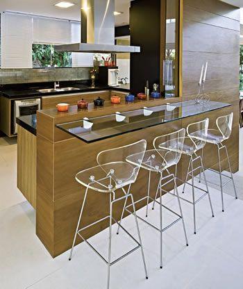 cozinha bancada vidro