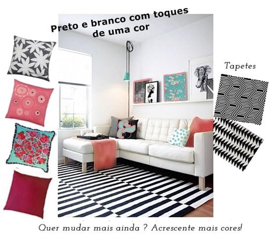 sala de estar em preto e branco e 2 cores