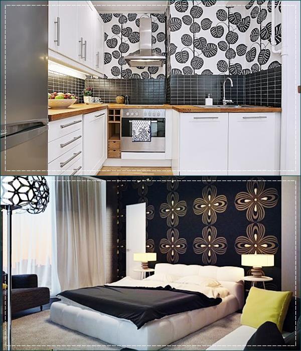 cozinha e quarto em preto e branco