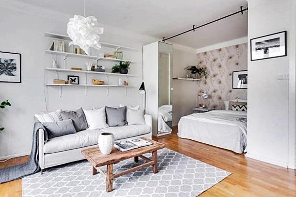 sala e quarto apartamento 35 m2