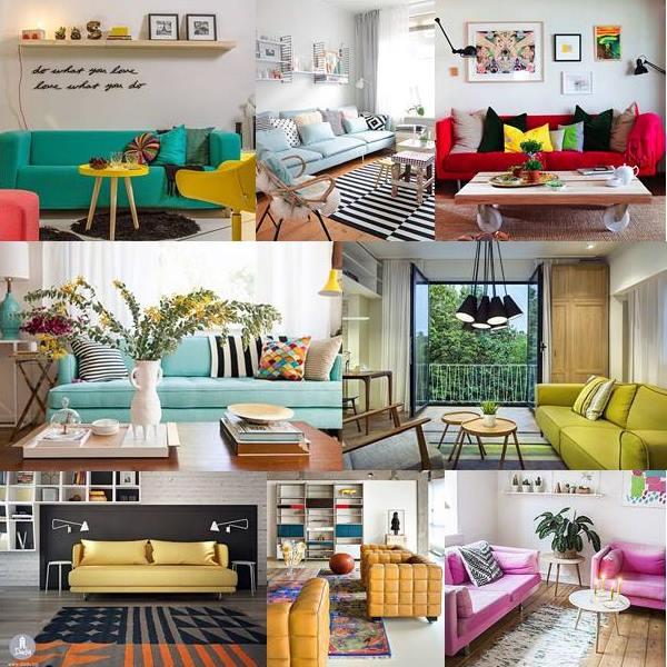 sofás em cores vivas