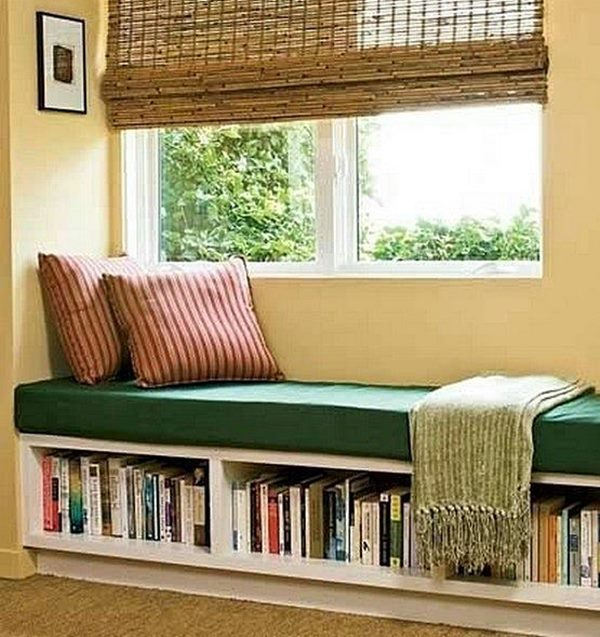 sofá e biblioteca