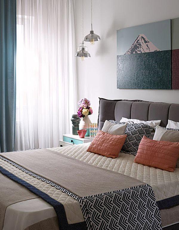 quarto de casal  marrom azul