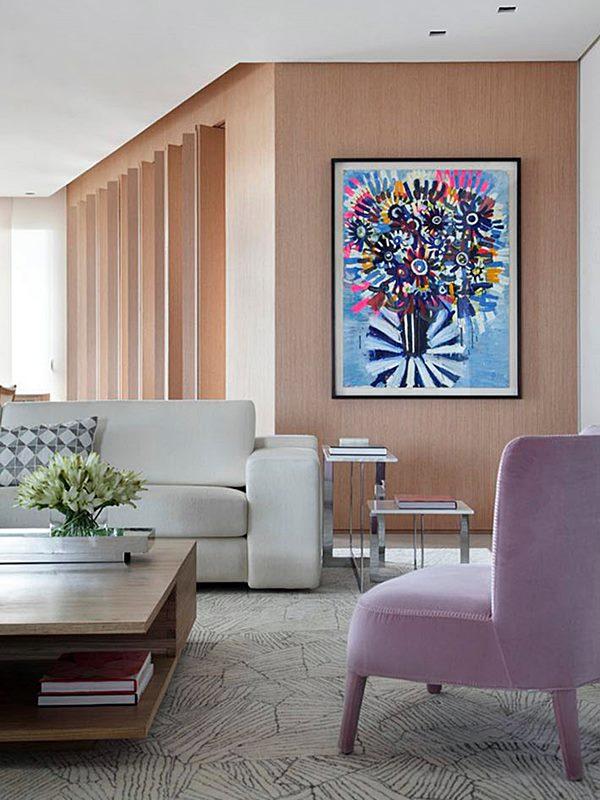 sala de estar em cores suaves