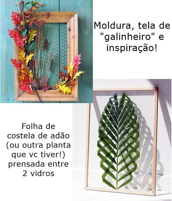 quadros com tela de galinheiro e folhas