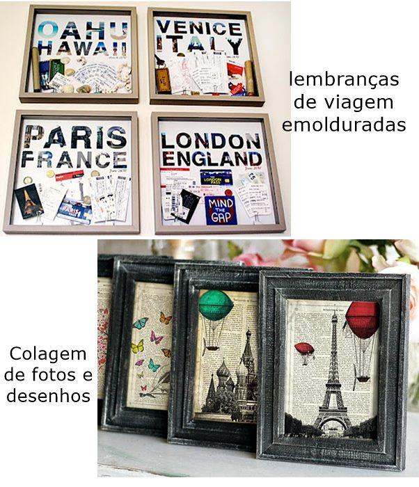 quadros com lembranças de viagem