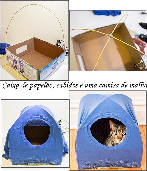 caminhas para gato com caixa de papelão