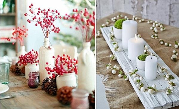 mesa de natal detalhes com garrafas e velas