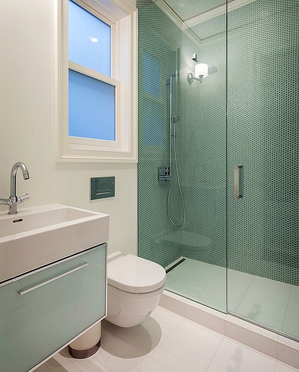 decoist Green-penny-tiles-for-the-smart-shower-area