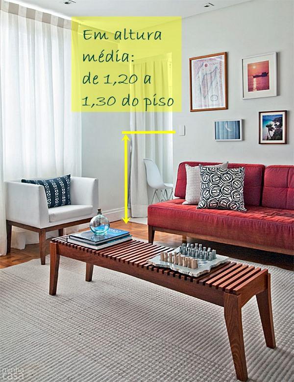 sala pequena sofá vermelho