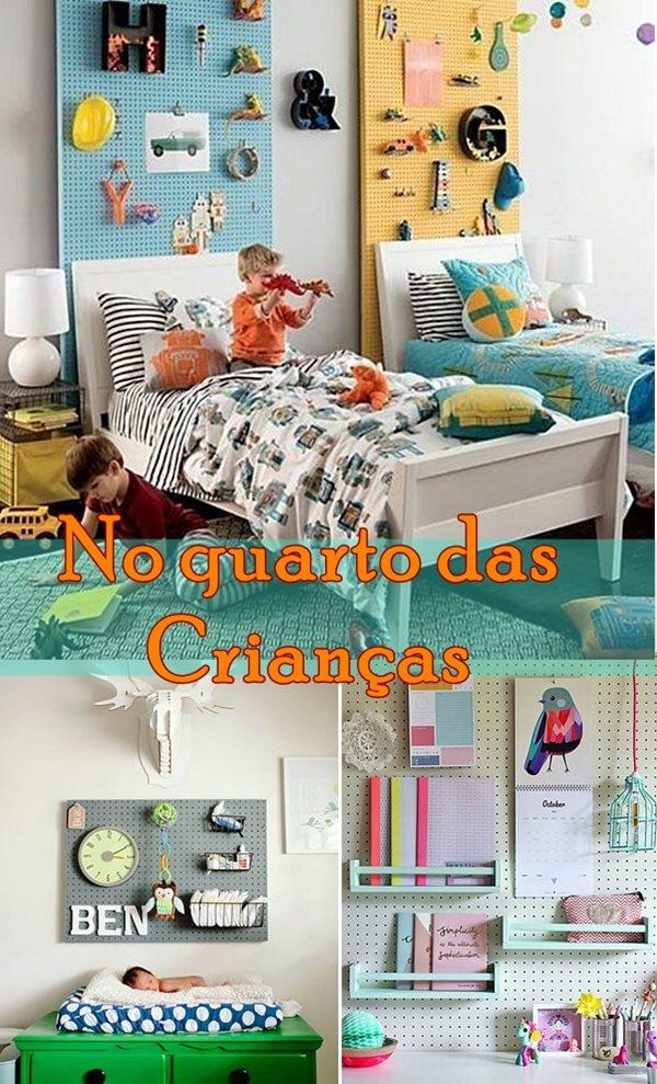 pegboard eucatex perfurado no quarto crianças