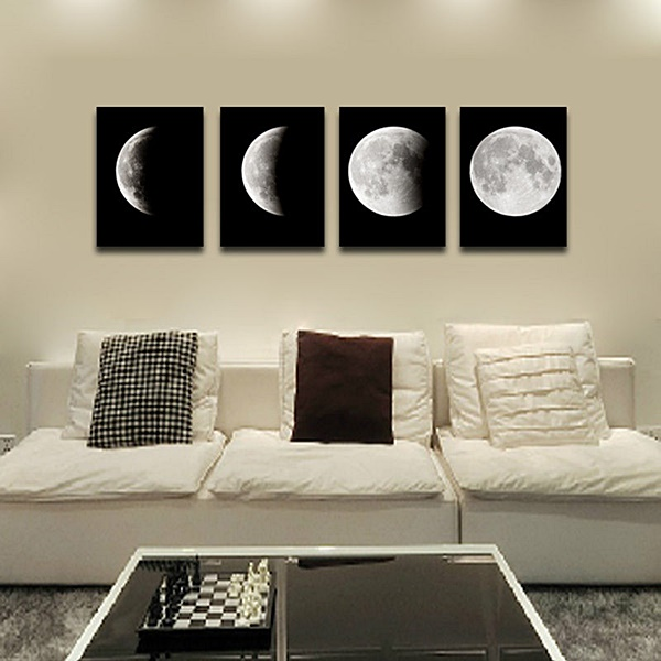 sala neutra branca preta quadro lua