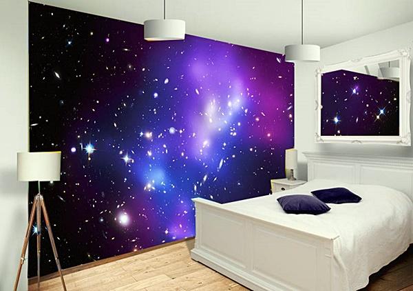 quarto neutro branco papel parede constelação
