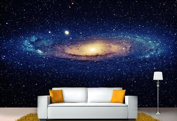 sofá e painel constelação