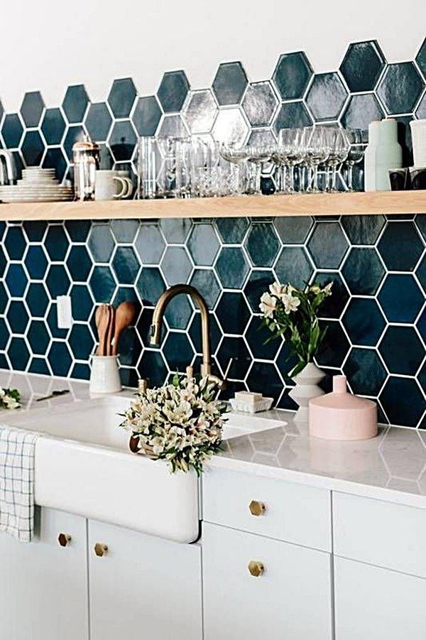 Cozinha azul e branco 2