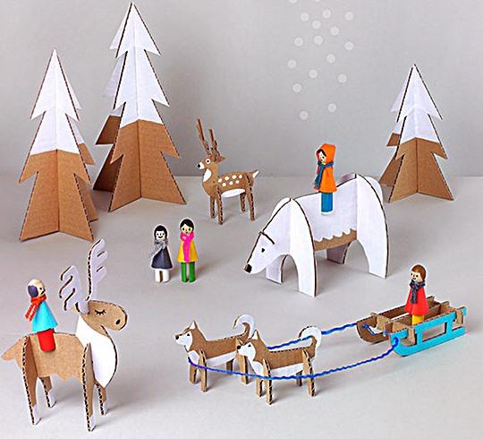 decoração de natal presépio de papelão