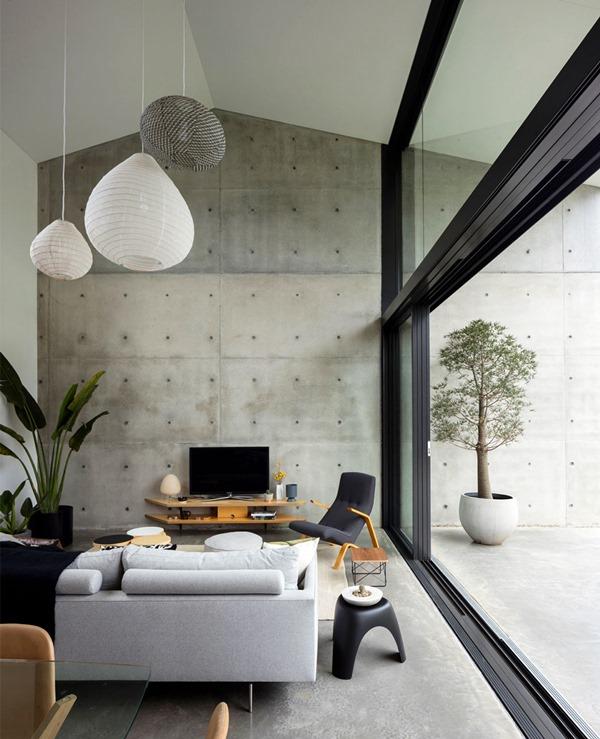 sala minimalista indutrial e detalhes estilo japonês