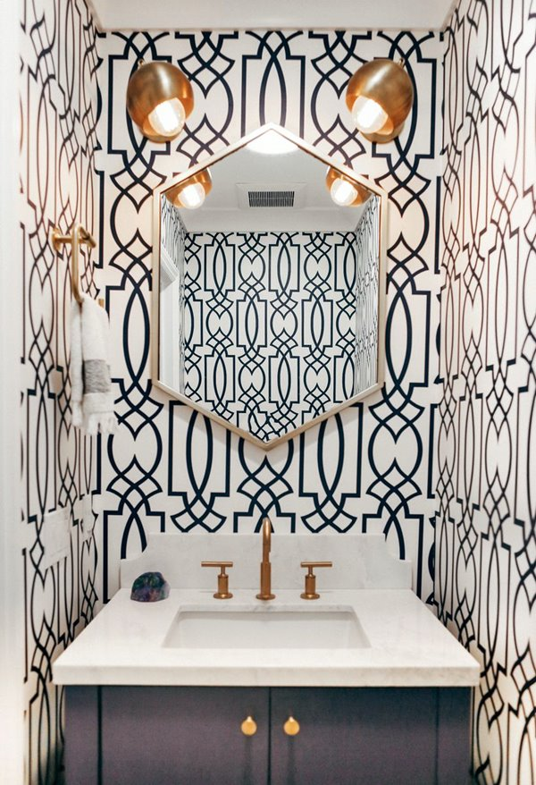 HomeditGeometric-wallpaper-for-powder-room