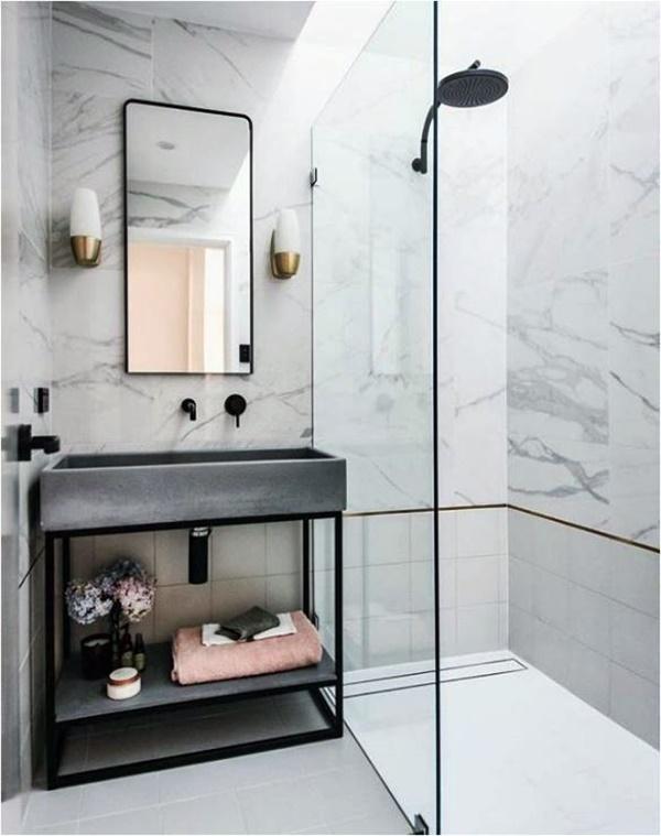Centsational styleblack-faucet-brass-sconces-brass-shower-trim