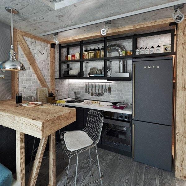 cozinha cinza e preto