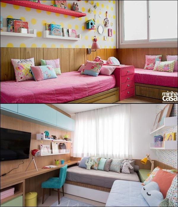 quarto para 2 crianças camas em L 1